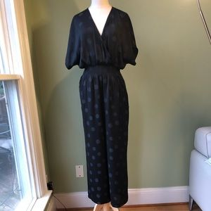 Madewell Polka Dot Wrap Bodice Wide Leg Jumpsuit